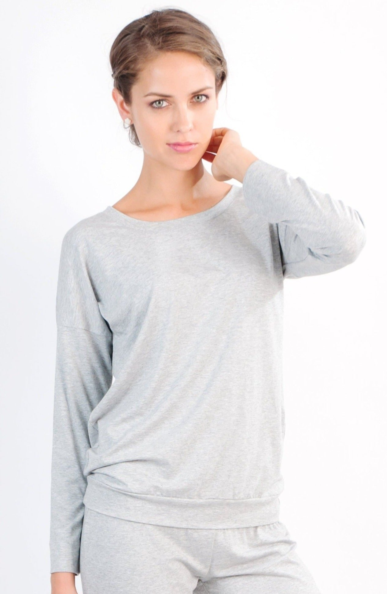 Laguna Long Sleeve Pull Over Top - Heather Fabric