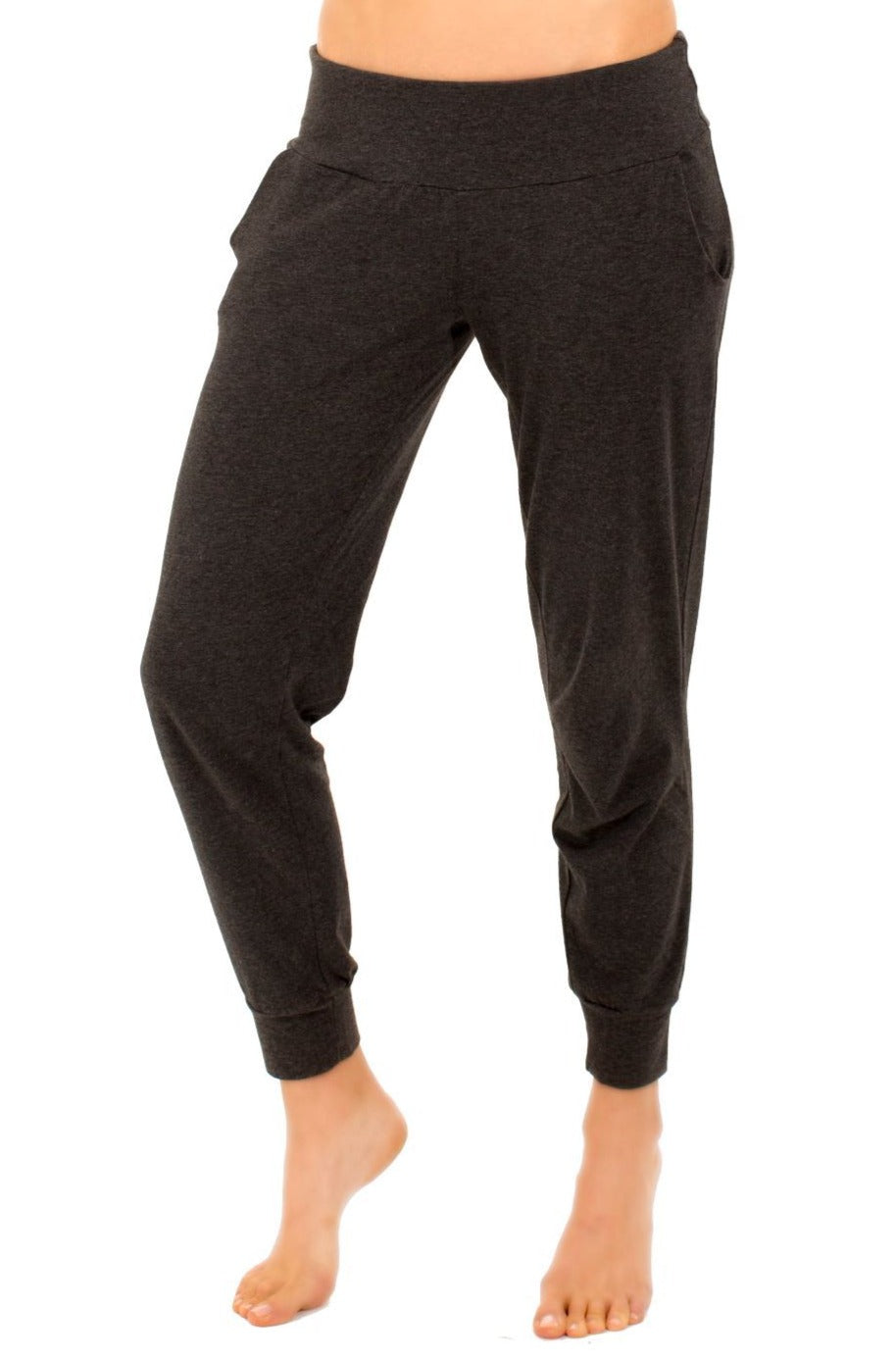 Laguna Long Sleeve Cowl Neck Pullover Jogger Loungewear Set - Heather Fabric