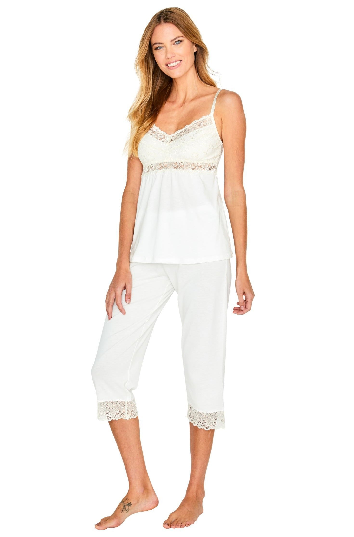 Leslie Spaghetti Strap Camisole Cropped Pant PJ Set