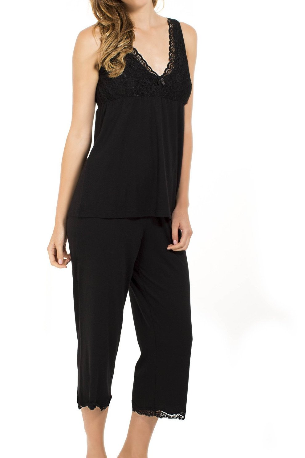 Leslie Wide Tank Camisole, Cropped Pant PJ Set - Sales Rack