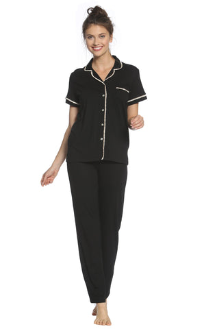 Sophie Basic Short Sleeve Full Length Pant Men's Styled PJ Set