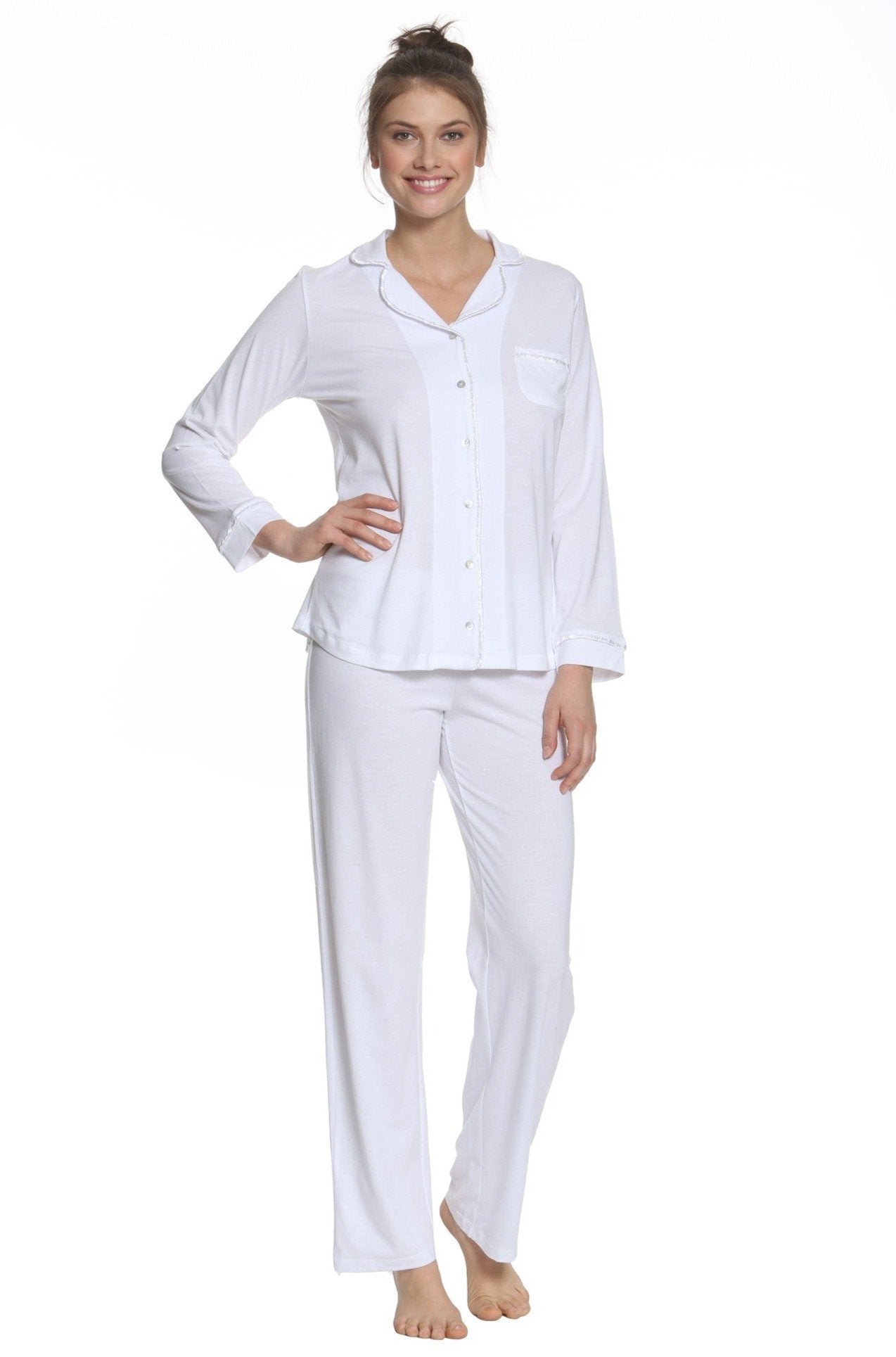 Sophie Basic Long Sleeve Full Legth Pant Men's Styled PJ Set