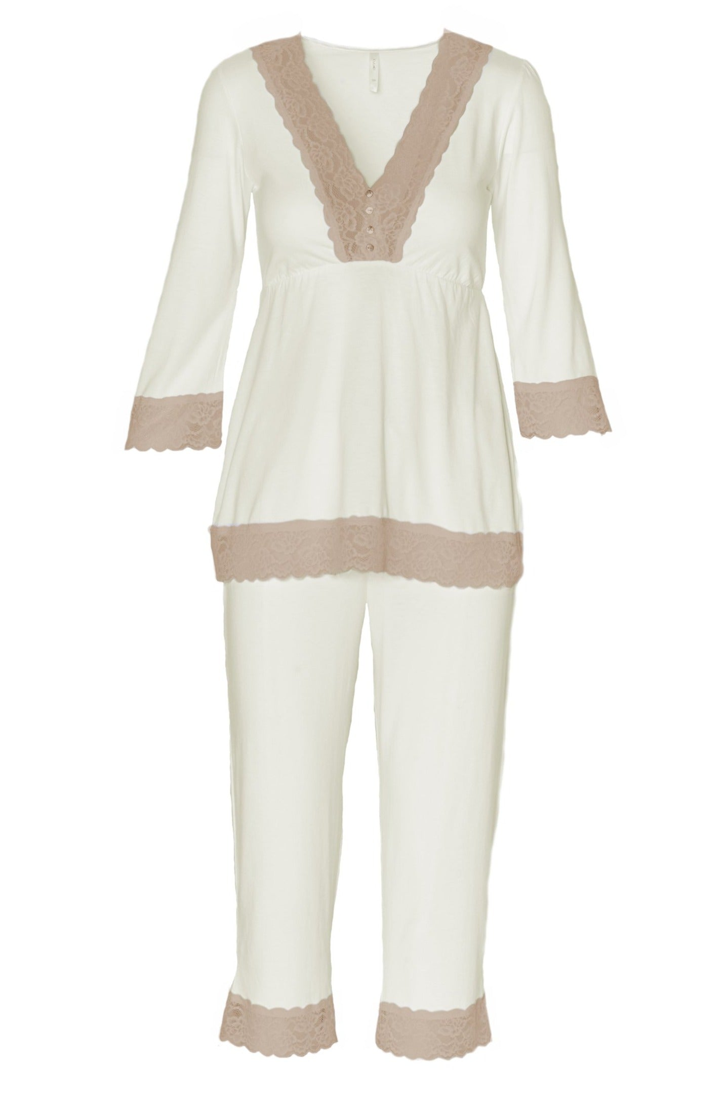 Sophie Basic 3/4 Sleeve Cropped Pant PJ Set - Sales Rack