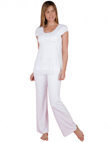 Sophie Basic Short Sleeve Top Full Length Pant PJ Set