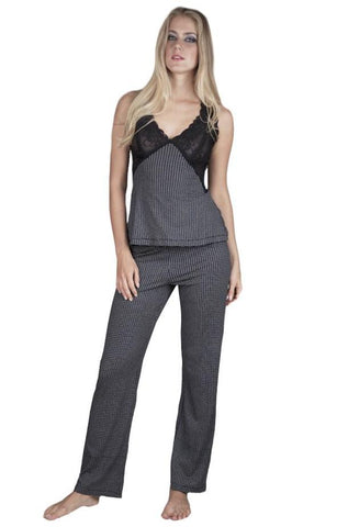 Vanessa Wide Tank Camisole, Full Length Pant PJ Set - Sales Rack