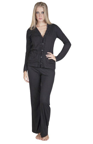Vanessa Cardigan Style Long Sleeve Full Length Pant PJ Set
