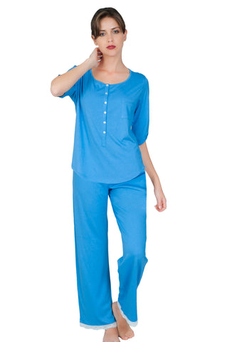 Valentina 3/4 Sleeve Henley PJ Top Long Pant PJ Set - Sales Rack