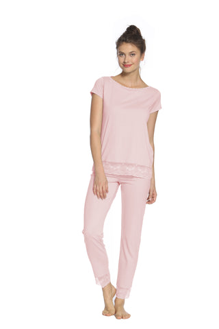 Venice Short Sleeve Bateau Neck, Full Length Pant PJ Set