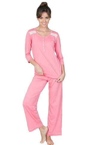 Misha Elbow Sleeve Pullover Top PJ Set