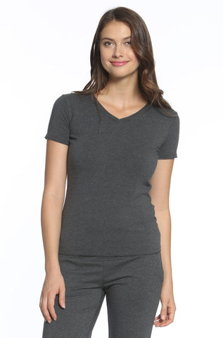 Beyond the Basics Short Sleeve V Neck Top - Heather Fabric