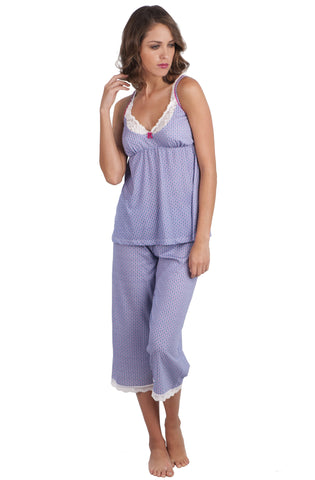 Spaghetti Strap Camisole Cropped Pant PJ Set - Clearance