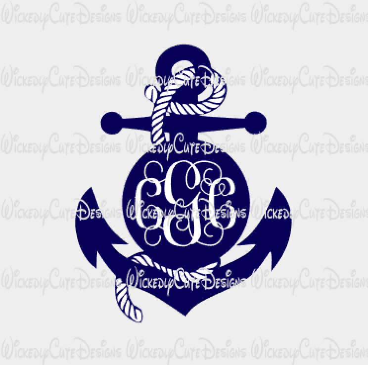Anchor Monogram Frame SVG, DXF, EPS, PNG Digital File