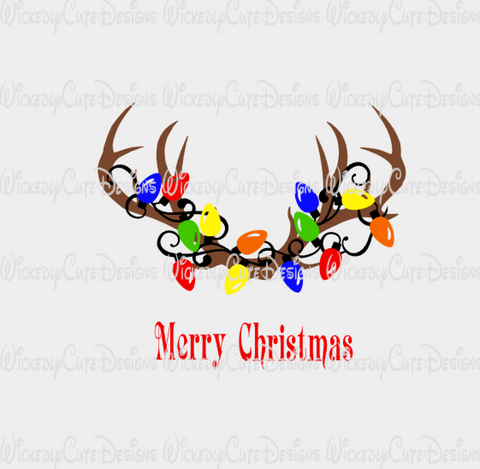 Antlers Christmas Lights SVG, DXF, EPS, PNG Digital File
