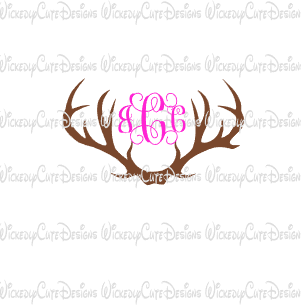 Antlers Monogram Frame SVG, DXF, EPS, PNG Digital File