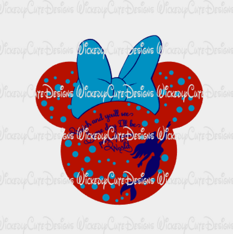 Ariel Mouse Head SVG, DXF, EPS, PNG Digital File