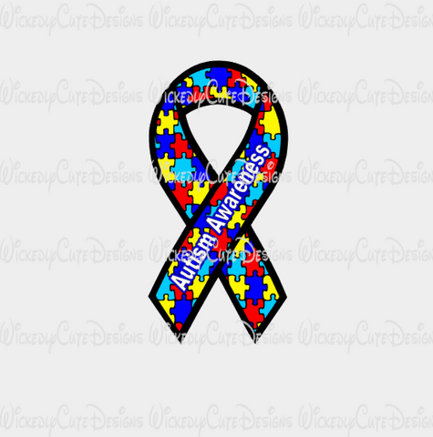 Autism Ribbon SVG, DXF, EPS, PNG Digital File