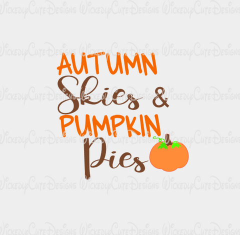 Autumn Skies Pumpkin Pies SVG, DXF, EPS, PNG Digital File