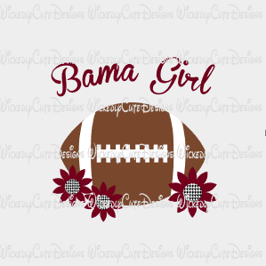 Bama Girl Football SVG, DXF, EPS, PNG Digital File