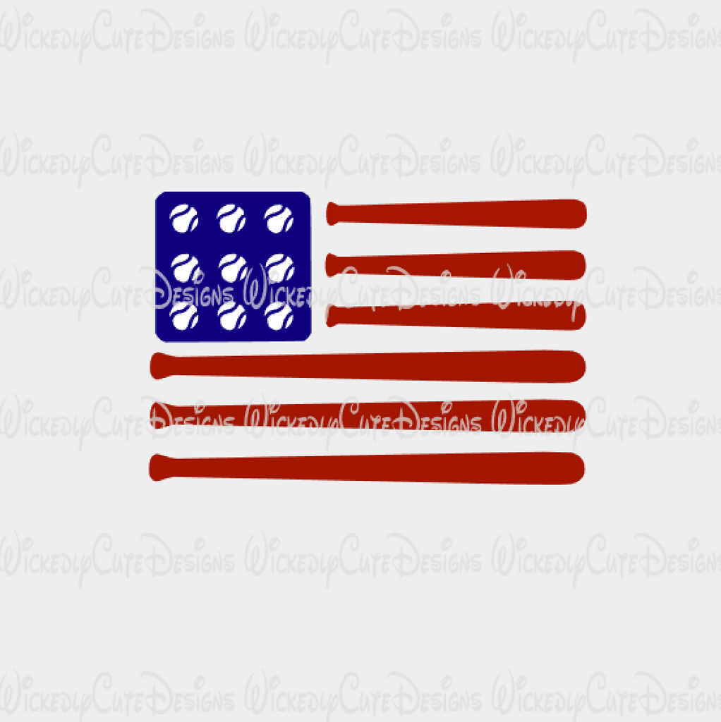 Baseball American Flag SVG, DXF, EPS, PNG Digital File
