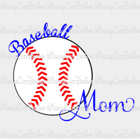 Baseball Mom SVG, DXF, EPS, PNG Digital File