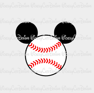 Baseball Mouse Head SVG, DXF, EPS, PNG Digital File