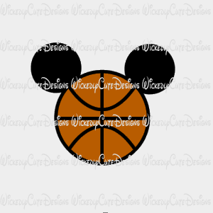 Basketball Mickey Mouse Head SVG, DXF, EPS, PNG Digital File