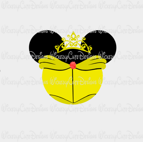 Belle Mouse Head SVG, DXF, EPS, PNG Digital File