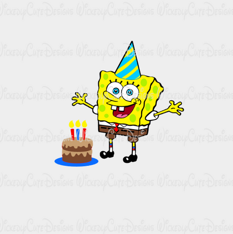 Birthday Spongebob SVG, DXF, EPS, PNG Digital File