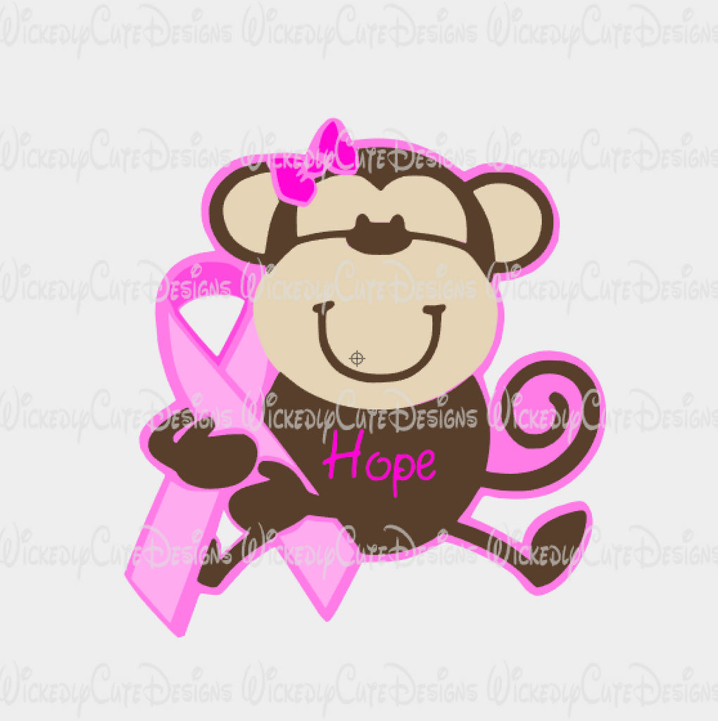 Breast Cancer Monkey SVG, DXF, EPS, PNG Digital File