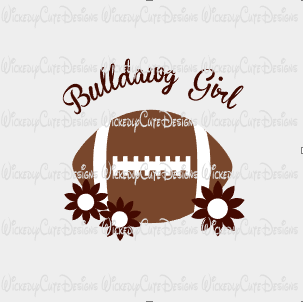Bulldawg Girl Football SVG, DXF, EPS, PNG Digital File