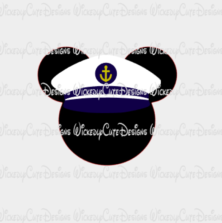 Captain Mickey Mouse Head SVG, DXF, EPS, PNG Digital File