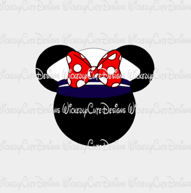 Captain Minnie Mouse Head SVG, DXF, EPS, PNG Digital File