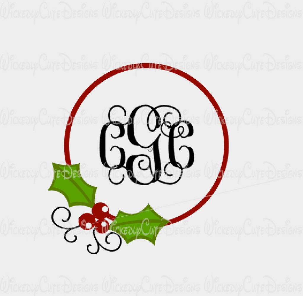 Christmas Holly Monogram Frame SVG, DXF, EPS, PNG Digital File