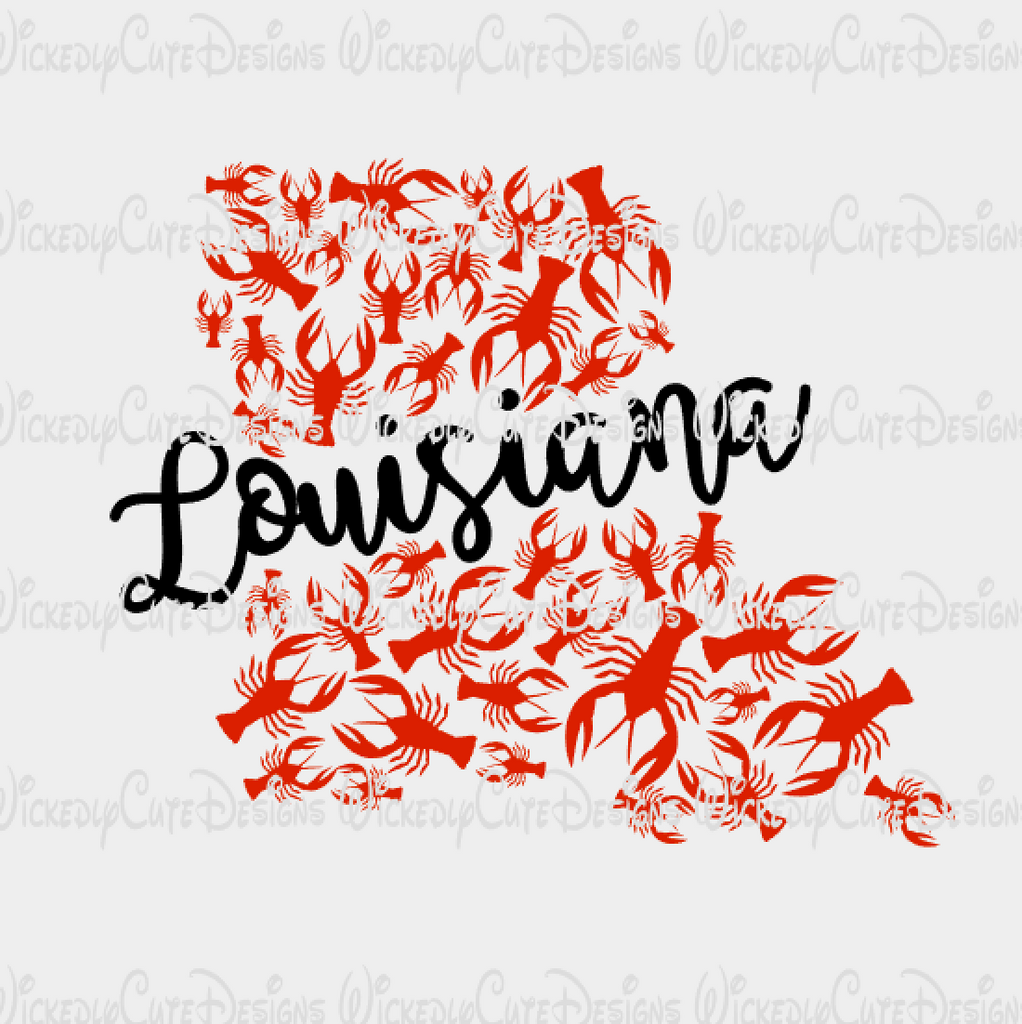 Crawfish Louisiana SVG, DXF, EPS, PNG Digital File