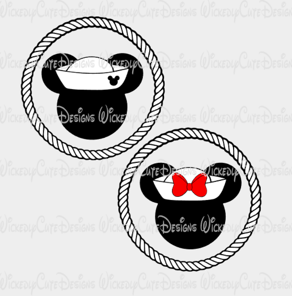 Cruise Mickey and Minnie Mouse Heads set SVG, DXF, EPS, PNG Digital File