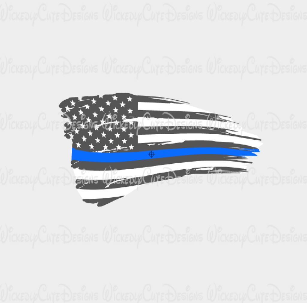 Distressed Policeman American Flag SVG, DXF, EPS, PNG Digital File