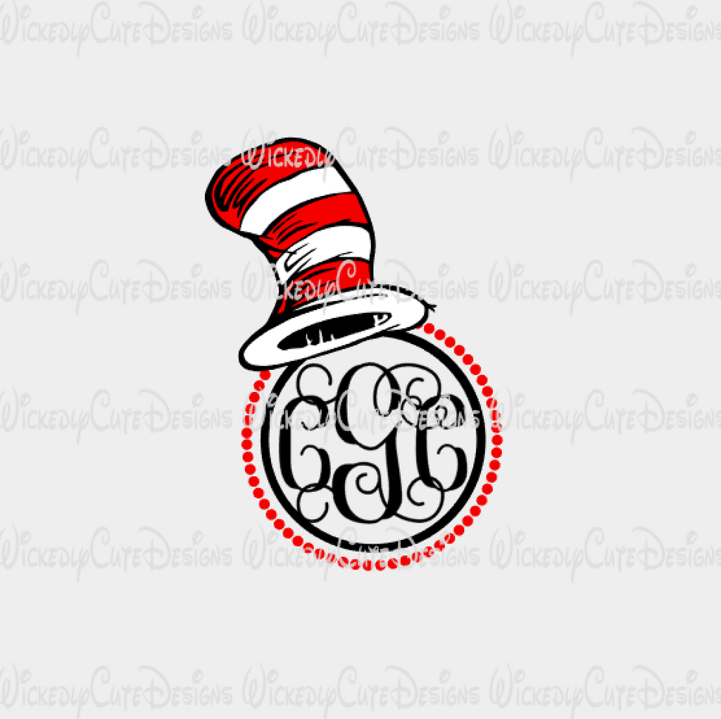 Dr Seuss Hat Monogram Frame SVG, DXF, EPS, PNG Digital File