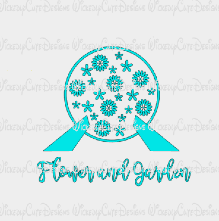 Epcot Ball Flower and Garden SVG, DXF, EPS, PNG Digital File