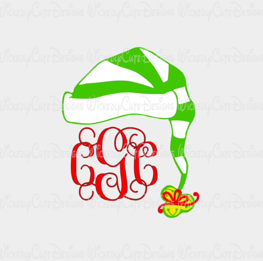 Elf Hat Monogram Frame SVG, DXF, EPS, PNG Digital File