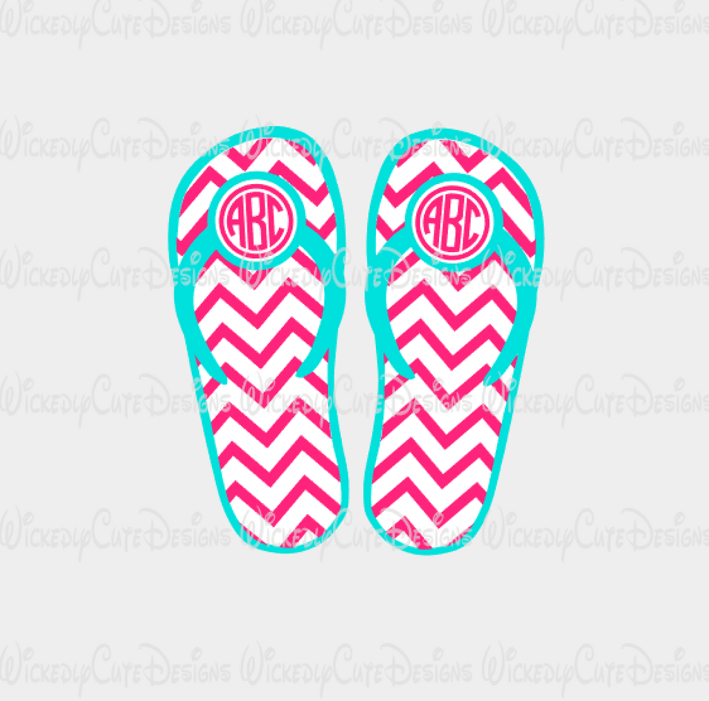 Flip Flops Monogram Frame SVG, DXF, EPS, PNG Digital File