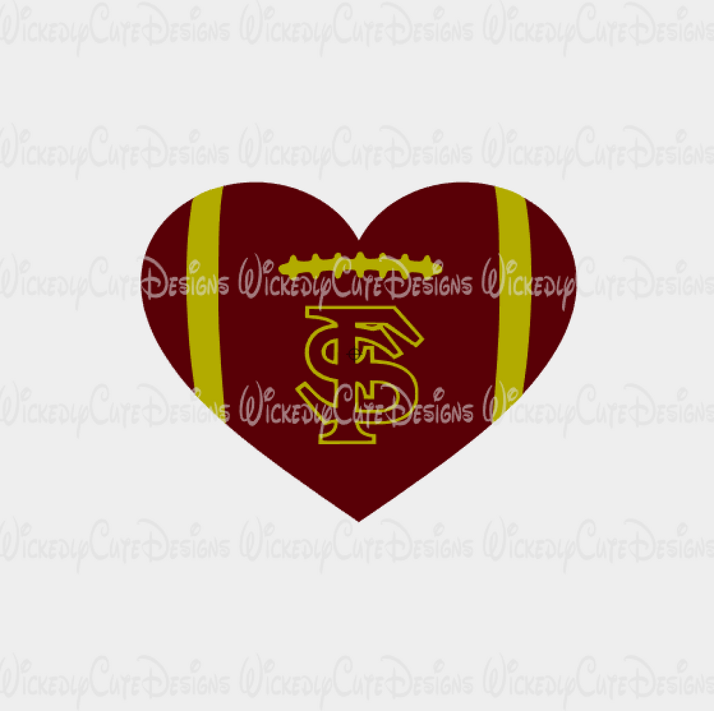 Florida Seminoles Football Heart SVG, DXF, EPS, PNG Digital File