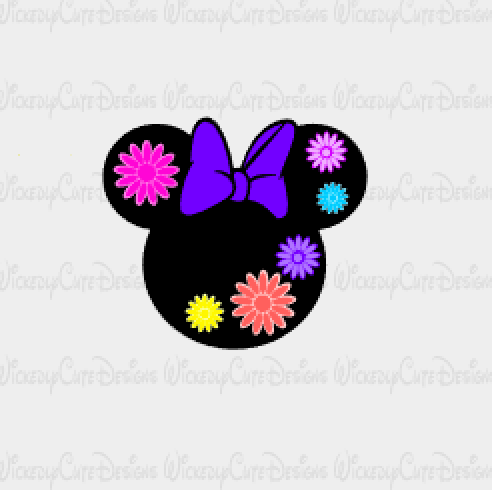 Flower and Garden Minnie Mouse Head SVG, DXF, EPS, PNG Digital File