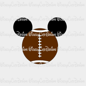 Football Mickey Mouse Head SVG, DXF, EPS, PNG Digital File