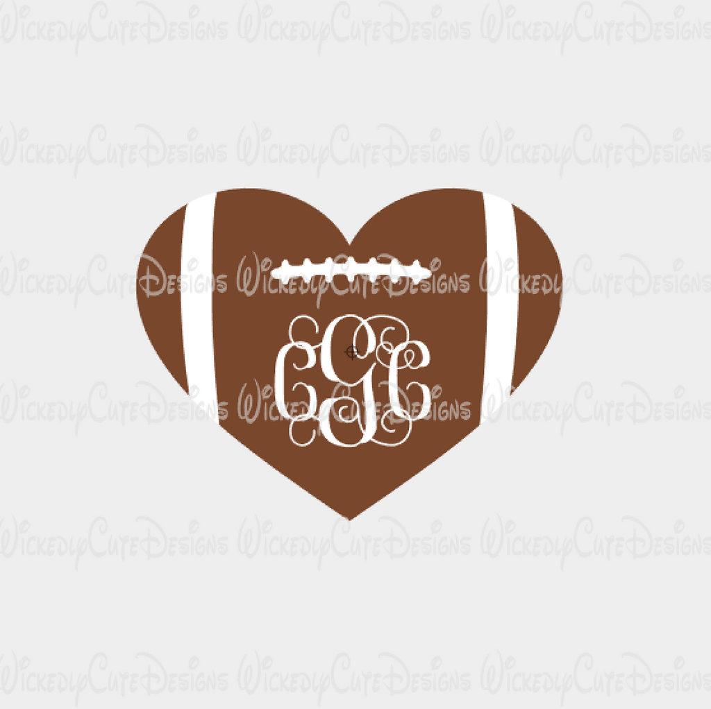 Football Monogram Heart SVG, DXF, EPS, PNG Digital File
