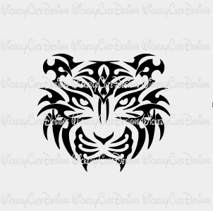 Full Face Tiger Silhouette SVG, DXF, EPS, PNG Digital File