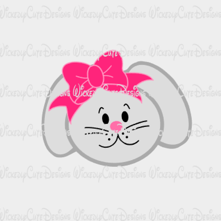 Girl Bunny Head with Bow SVG, DXF, EPS, PNG Digital File