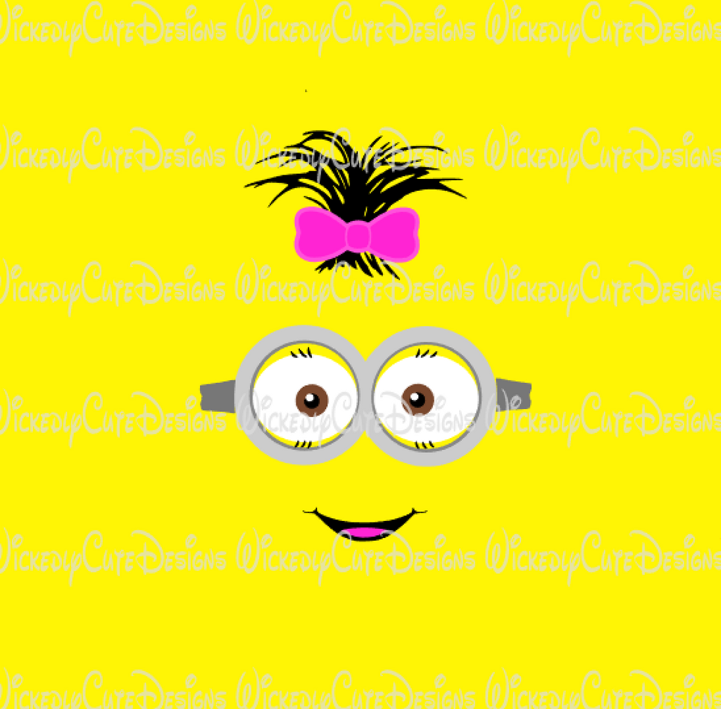 Girl Minion Face 2 SVG, DXF, EPS, PNG Digital File