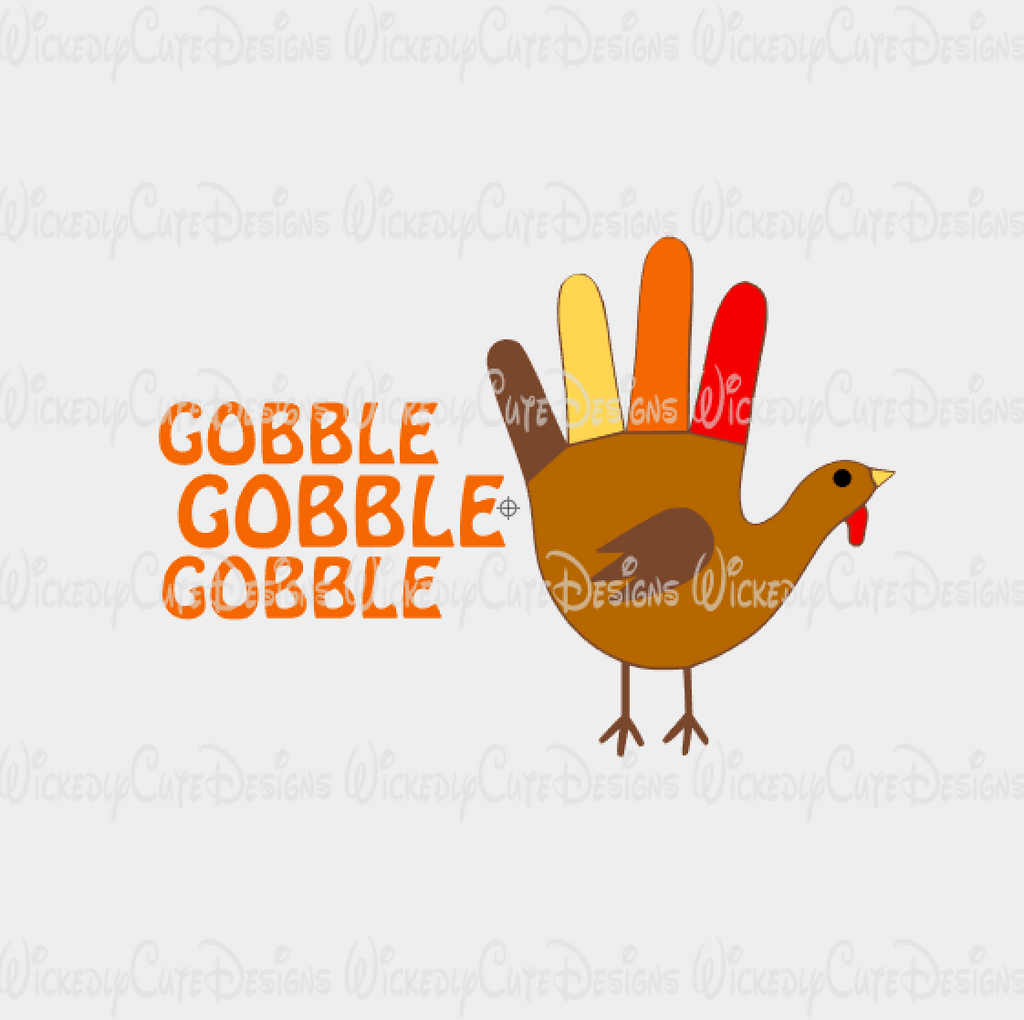 Gobble Turkey Hand SVG, DXF, EPS, PNG Digital File