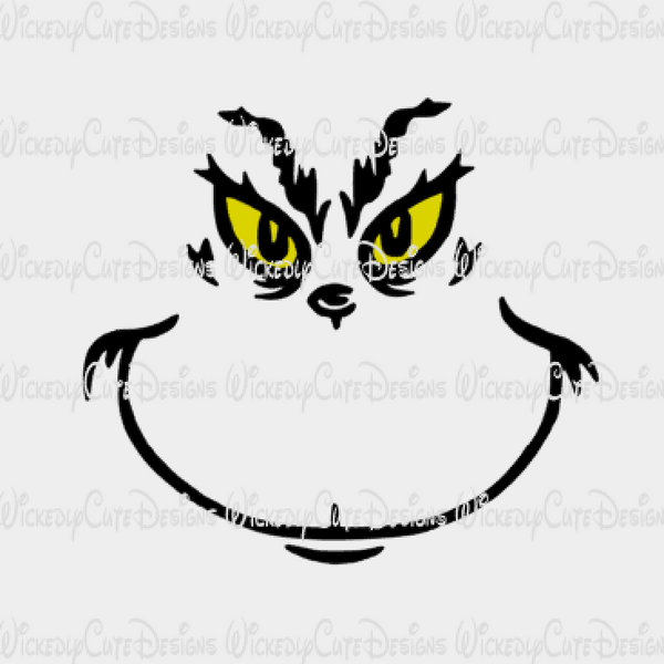 Grinch Inspired T Shirt Face SVG, DXF, EPS, PNG Digital File