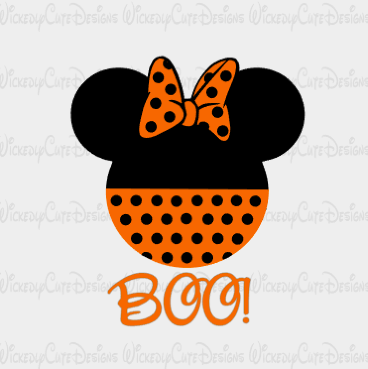 Halloween Minnie Mouse Head SVG, DXF, EPS, PNG Digital File